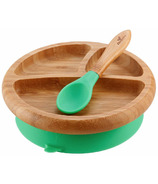 Avanchy Baby Bamboo Stay Put Suction Divided Plate & Spoon Green