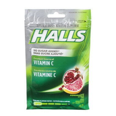 Halls Bag Lozenges Vitamin C Pomegranate Citrus No Sugar Added