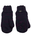 Calikids Iceland Acrylic Knit & Berber Mitten with Floral Embroidery Purple