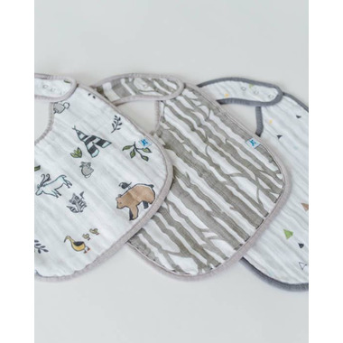 Little Unicorn Cotton Muslin Classic Bib Set Forest Friends