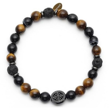 Oriwest Men\'s Tiger Eye Lava Bead Bracelet