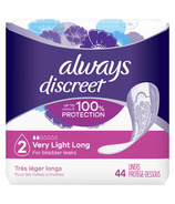 Always Discreet Incontinence Liners Very Light Absorbency Long Length