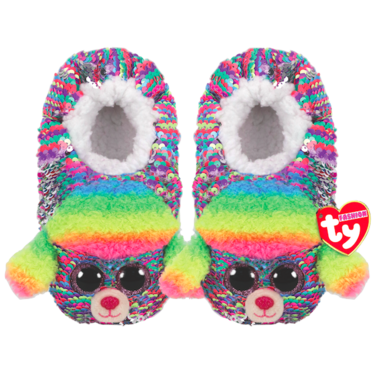 Ty Fashion Rainbow the Poodle Sequin Slipper Socks