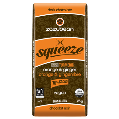 zazubean Squeeze Orange & Ginger 70% Dark Chocolate