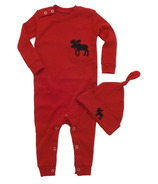 Hatley Baby Romper Red Moose Trailing a Little Behind