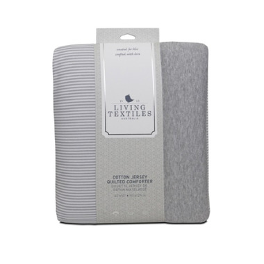 Living Textiles Quilted Comforter Grey Marl And Grey Heathered Stripes
