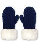 Pudus Mittens Cable Knit Navy Adult