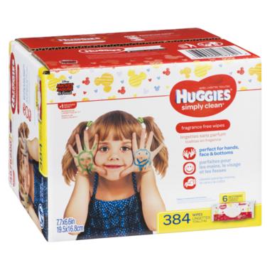 Huggies Simply Clean Fragrance-Free Baby Wipes 6 Pack