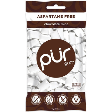 PUR Sugar-Free Gum Chocolate Mint Bag