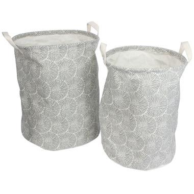 Silver Tree Grey Cylinder Canvas Baskets Set of 2