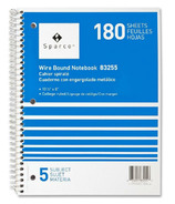 Sparco Quality Wirebound 5-Subject Notebook