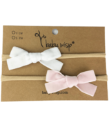 Baby Wisp Leather Mia Bow Headbands Dusty Rose & White