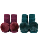 Waddle Pom Pom Rattle Socks Marron & Forest Green