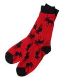 Hatley Little Blue House Men's Crew Socks Moose on Red