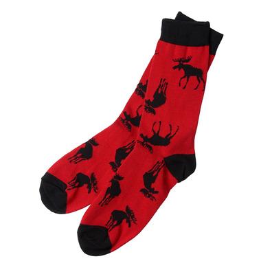 Little Blue House Men\'s Crew Socks Moose on Red