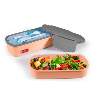 Russbe Double Stack + Chill Bento With Ice Pack Salmon