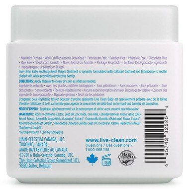 Live Clean Baby Soothing Oatmeal Relief Diaper Ointment