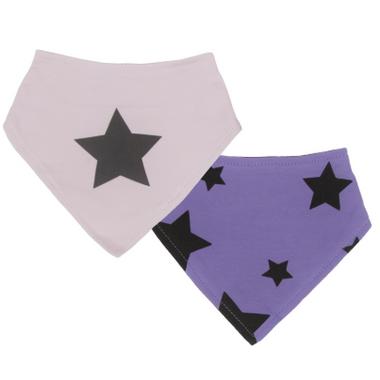 Kushies Bandana Bib Pink and Purple Stars