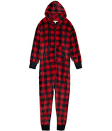 Little Blue House Adult Hooded Fleece Union Suit Buffalo Plaid