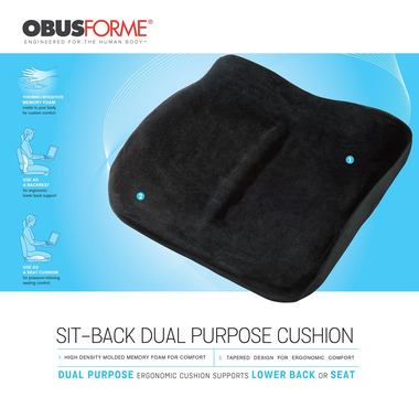 ObusForme Sit-Back Compact Lower Back Seat Cushion