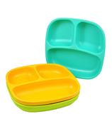 Assiettes divisées Re-Play Aqua, Lime Green et Sunny Yellow
