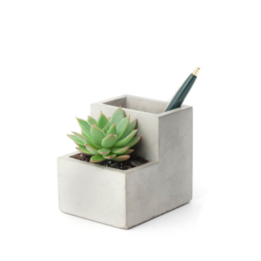Kikkerland Concrete Planter & Pen Holder