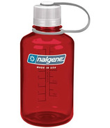 Nalgene 16 Ounce Narrow Mouth Water Bottle Outdoor Red with Iridescent Cap