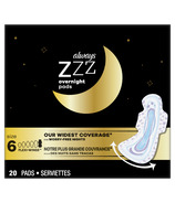 Always ZZZ Overnight Pads for Women Size 6 Unscented with Wings