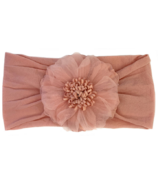 Baby Wisp Headband Nylon Flower Dusty Rose