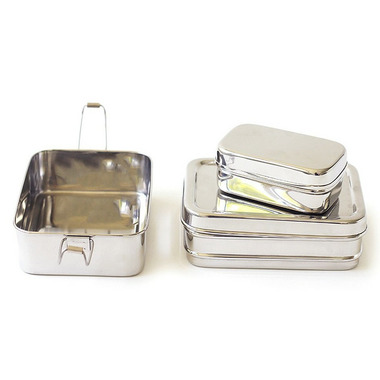ECOlunchbox Three-In-One Rectangular Stainless Steel Containers