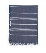 Lualoha Turkish Towel Classic Blanket Collection Navy