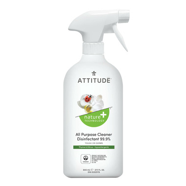ATTITUDE Nature+ All Purpose Cleaner Disinfectant Spray Thyme & Citrus