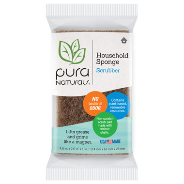 Pura Naturals Household Sponge with Scrubber