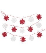 Now Designs Crochet Snowflake Garland Red and White