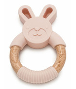 Loulou Lollipop Bunny Silicone and Wood Teething Ring Blush Pink