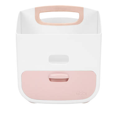 Ubbi Diaper Caddy White & Light Pink