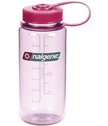 Nalgene 16 Ounce Wide Mouth Bottle Clear Pink with Beet Red Cap