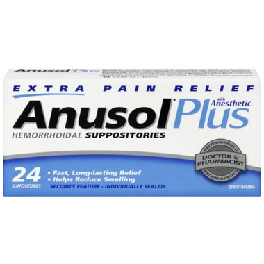 Anusol Plus Extra Pain Relief Hemorrhoidal Suppositories