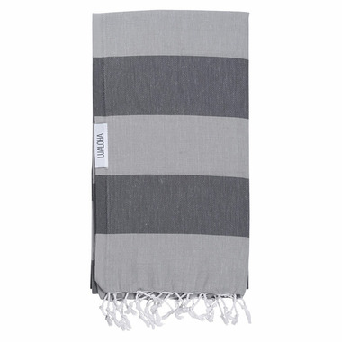 Lualoha Turkish Towel Buddhaful Light Grey & Charcol
