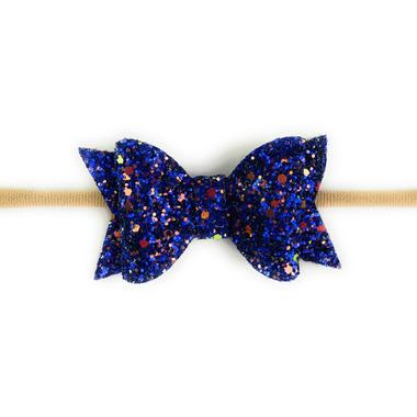 Baby Wisp Glitter Bow Headband Blue
