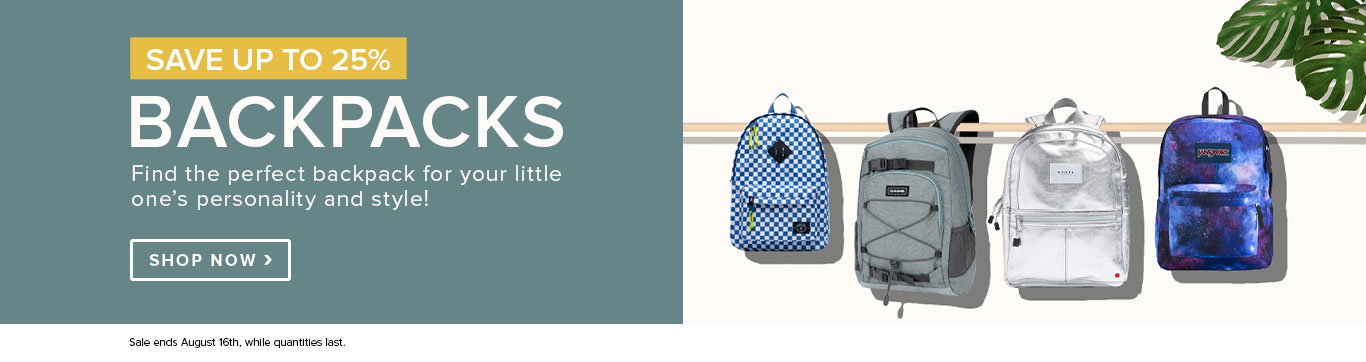 Save up to 25% on Backpacks