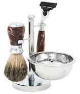 Brompton & Langley Men's 4 Peice Luxe Shave Kit Brown
