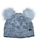 Calikids Iceland Acrylic Knit & Berber Hat with Floral Embroidery Grey