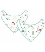 Loulou Lollipop Llama & Bright Rainbow Muslin Bib Set