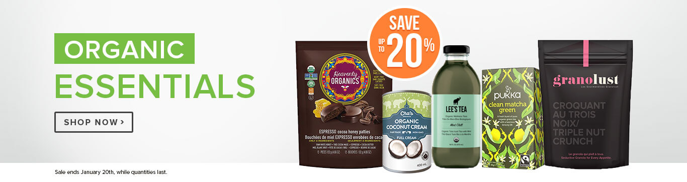 Save up to 20% off Organic Essentials