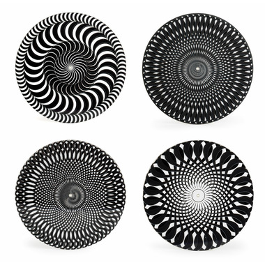 Kikkerland Black and White Moire Coasters