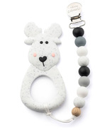 Little Cheeks Moose Silicone Teether and Pacifier Clip Speckle