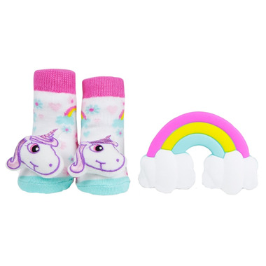 Waddle Unicorn Rattle Socks + Teether Gift Set