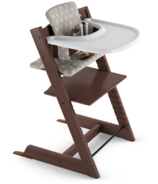 Stokke Tripp Trapp High Chair Walnut with Grey Stars Cushion and Tray
