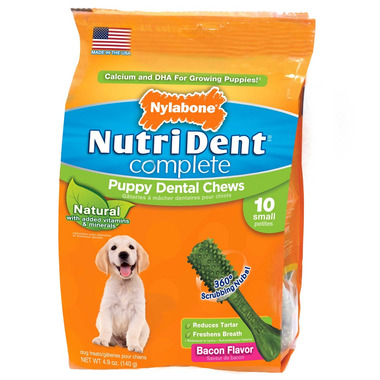 Nutri Dent Complete Dental Chews for Puppy Bacon 10 Pack